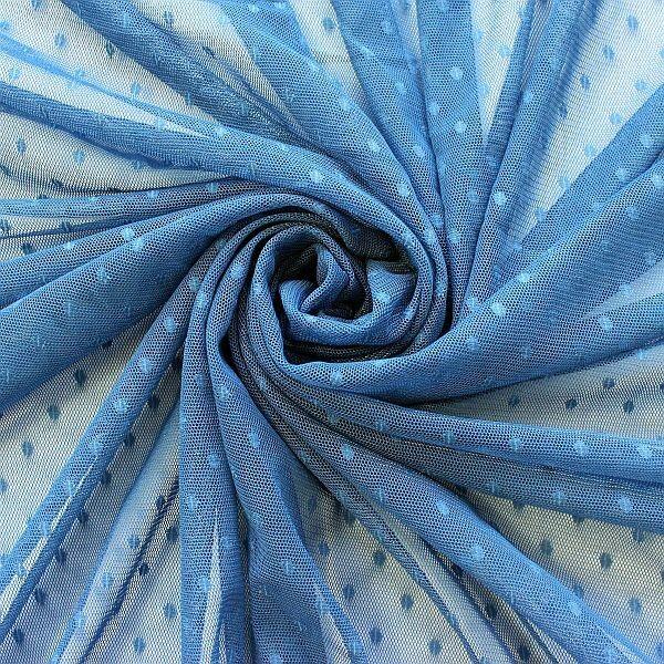 Soft Tüll Mesh Stoff Punkte Tauben-Blau