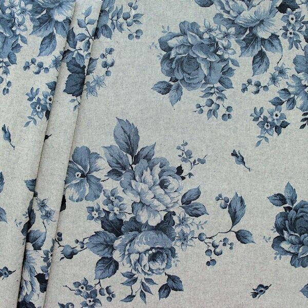 "Dekostoff ""Rosen groß 3"" Farbe Blau"