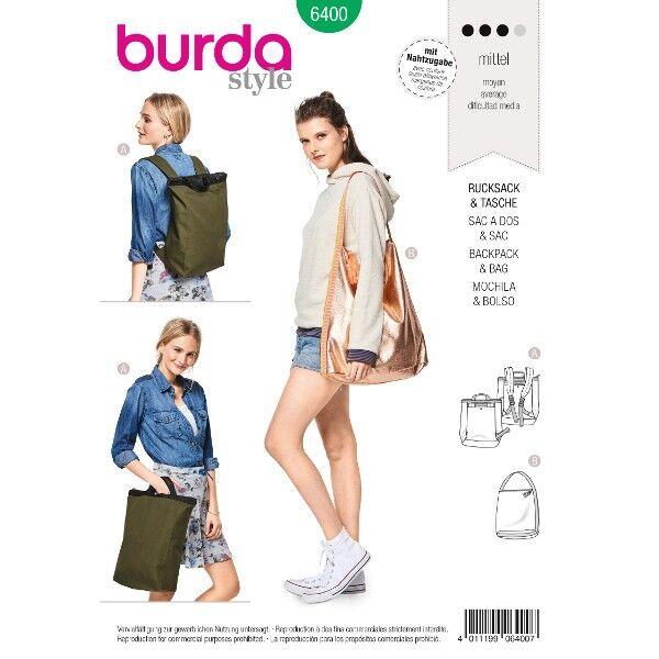 Stylischer City-Rucksack – Shopper mit Reißverschluss, Schnittmuster Burda 6400