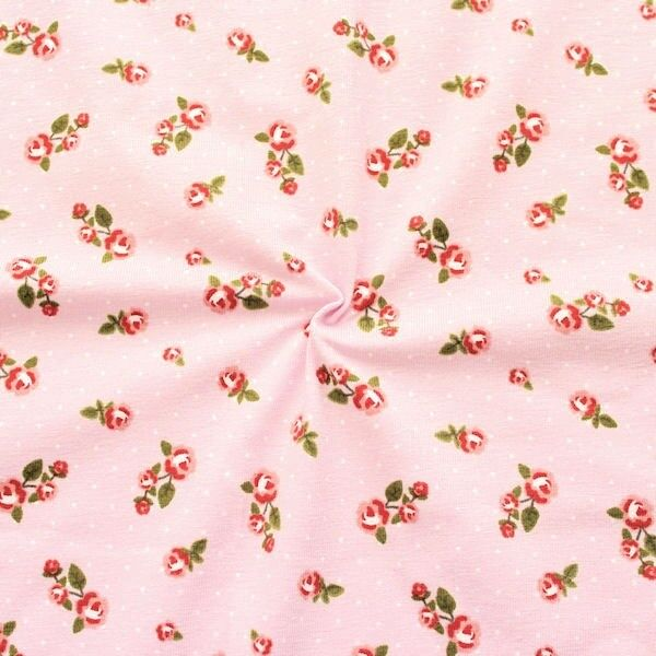 "Baumwoll Stretch Jersey ""Roses & Dots"" Farbe Rosa"