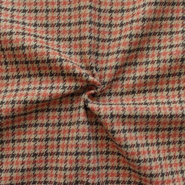 """Tweed Wollstoff """"Hahnentritt Klassik"""" Farbe Beige-Terrakotta-Braun"""