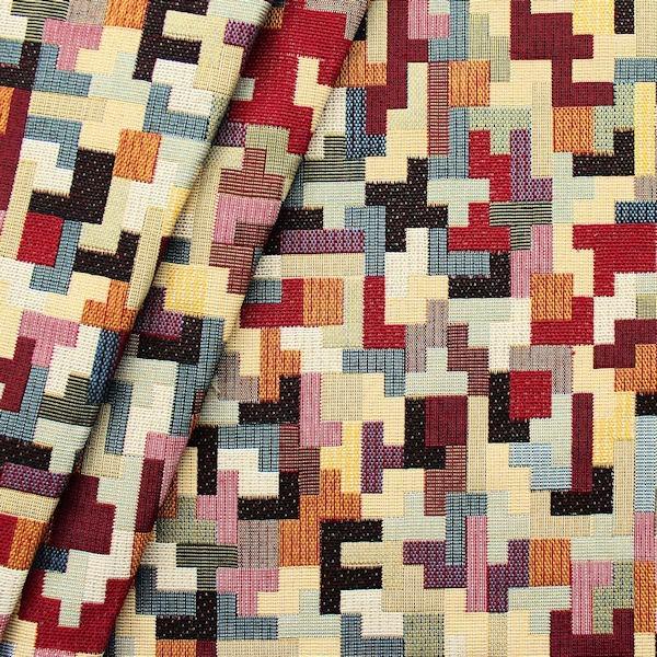 """Gobelin Möbelstoff / Dekostoff """"Puzzle"""" Farbe Multicolor"""