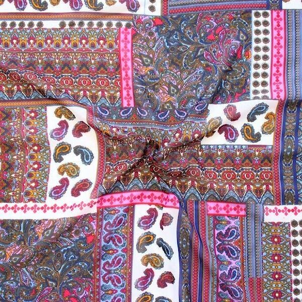 """Polyester Chiffon """"Patchwork Paisley"""" Multicolor 1"""