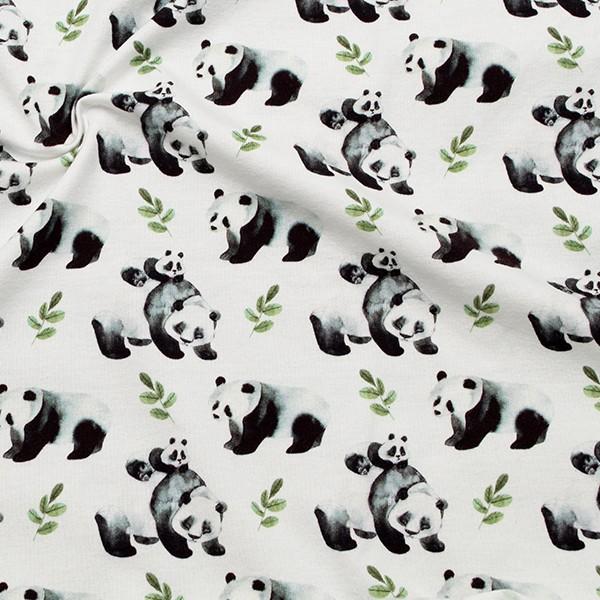 Baumwoll Stretch Jersey Pandabär Woll-Weiss