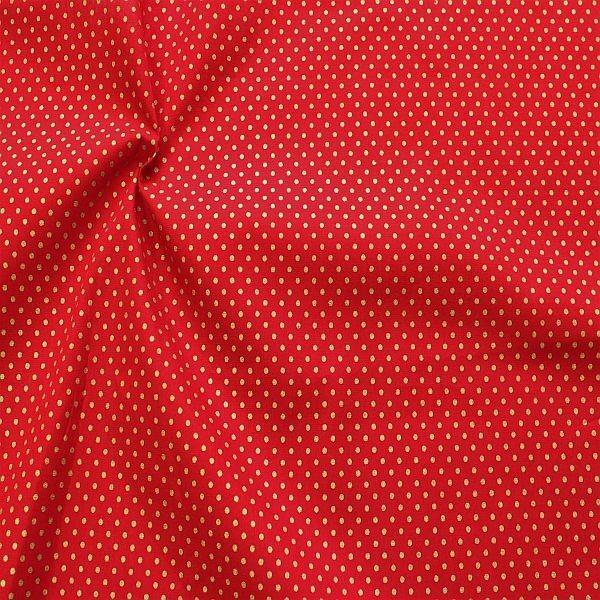 Baumwolle Popeline Gold Punkte klein Rot