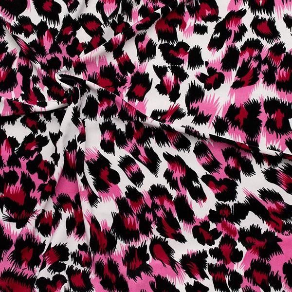 Jersey Animal Print Weiss-Pink-Schwarz