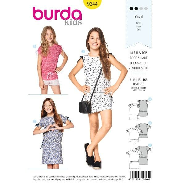 Kleid – Top – Schulterraffung – geraffte Ärmel, Gr. 116 - 158, Schnittmuster Burda 9344