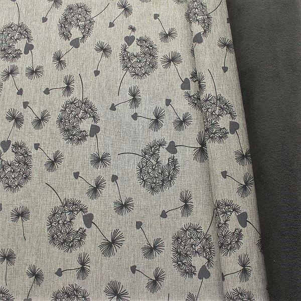 Softshell Fleece Stoff Pusteblumen Melange Grau
