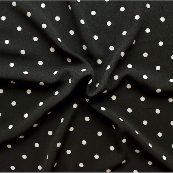 Polyester Modestoff Punkte mittel Schwarz Hell-Beige