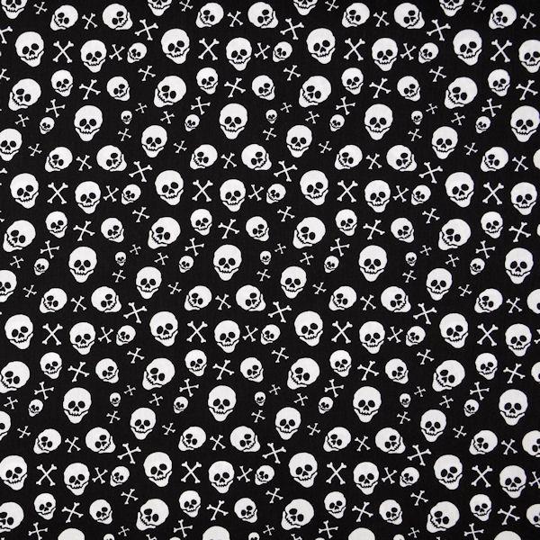 Baumwollstoff Popeline Skulls & Bones Schwarz-Weiss