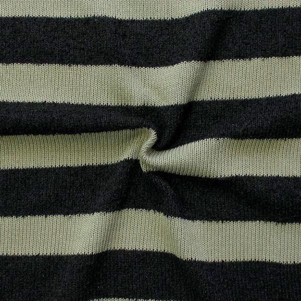 """Strick Jersey """"Blockstreifen quer"""" Farbe Schwarz-Khaki"""