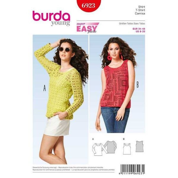 Shirt – Top, Gr. 34 - 46, Schnittmuster Burda 6923