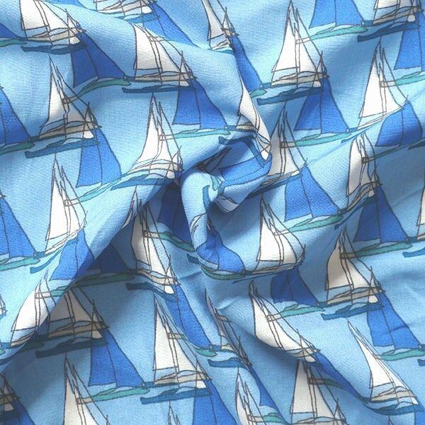 Viskose Javanaise Segeboote Blau