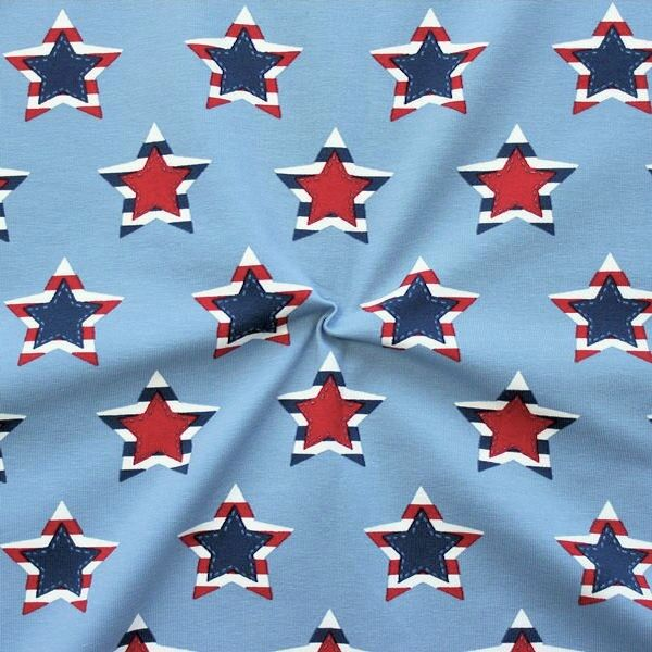 Baumwoll Stretch Jersey Star Patches Tauben-Blau