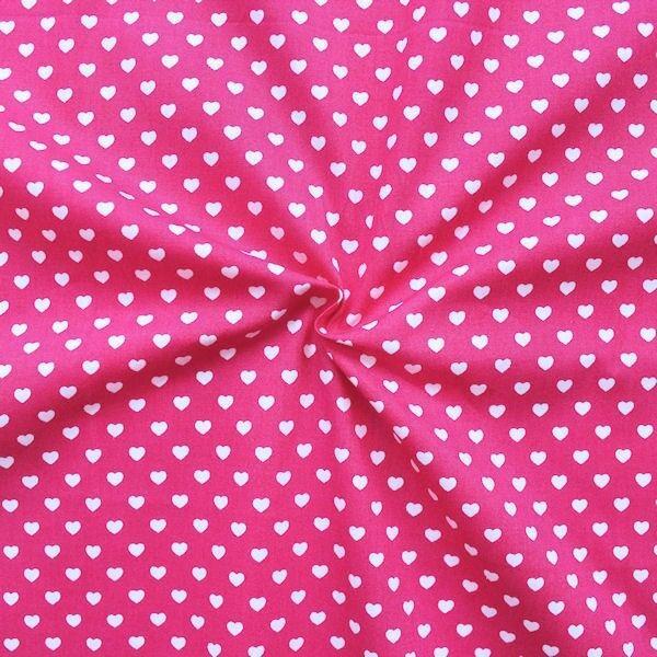 """100% Baumwollstoff """"Herzen klein"""" Farbe Pink"""