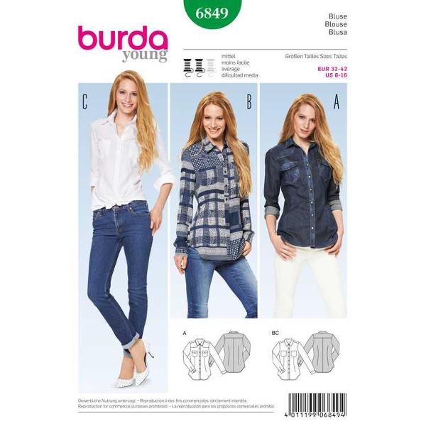 Bluse – tailliert – Schulterpasse, Gr. 32 - 42, Schnittmuster Burda 6849
