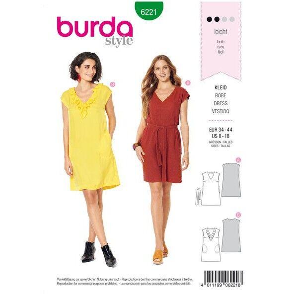 Kleid – ärmellos – V–Ausschnitt mit Volant – legere Form, Gr. 34 - 44, Schnittmuster Burda 6221