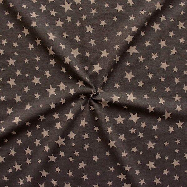 Baumwoll Stretch Jersey Sterne Mix Braun
