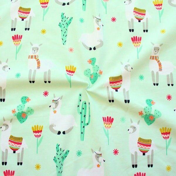 "Baumwoll Stretch Jersey ""Lamas 2"" Farbe Mint"