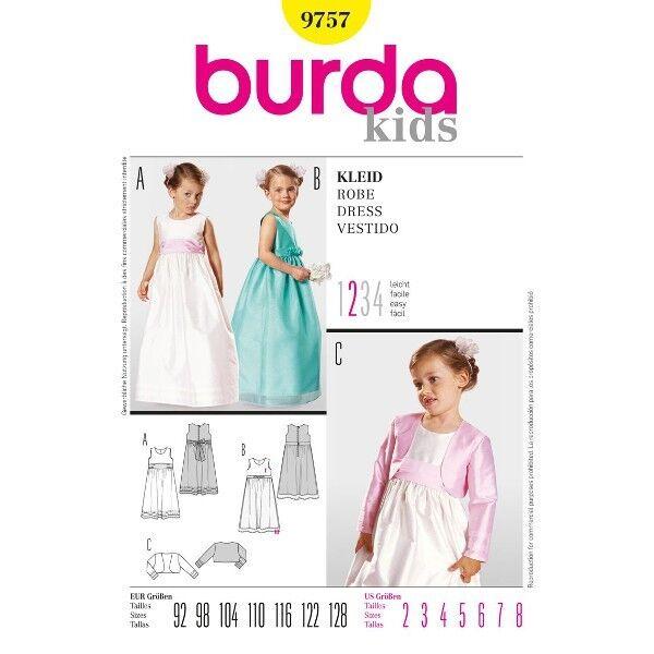 Kleid und Bolero, Gr. 92 - 128, Schnittmuster Burda 9757