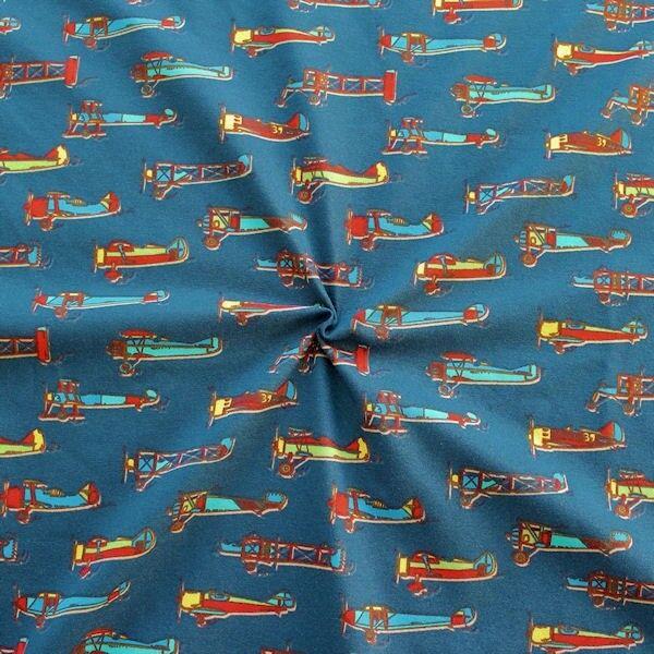 "Baumwoll Stretch Jersey ""Oldtimer Flugzeuge"" Farbe Dunkel-Blau"