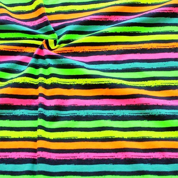 Baumwoll Stretch Jersey Neon Streifen Multicolor