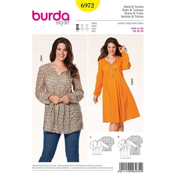 Kleid – Tunika, Gr. 44 - 56, Schnittmuster Burda 6972