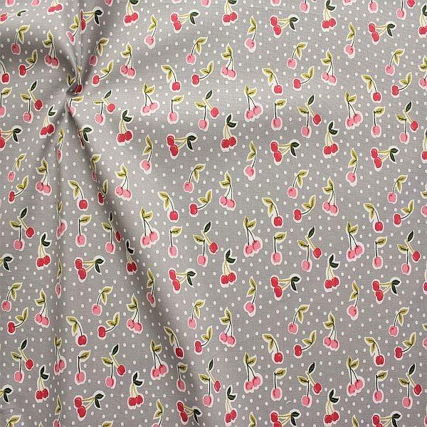 Baumwolle Popeline Cherrys & Dots Grau
