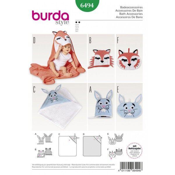 Burda 6494 Badeaccessoires: Kulturbeutel, Waschhandschuh und Badetuch mit Kapuze im Fuchs- oder Hasendesign