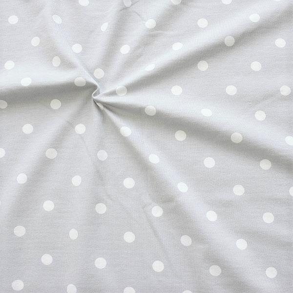 Baumwoll Stretch Jersey Classic Dots Hell-Grau Weiss
