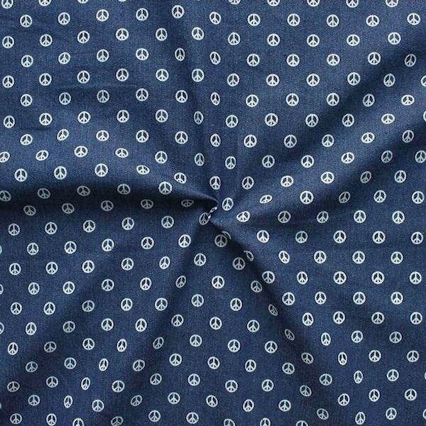 Stretch Denim Jeans Stoff Peace Dunkel-Blau