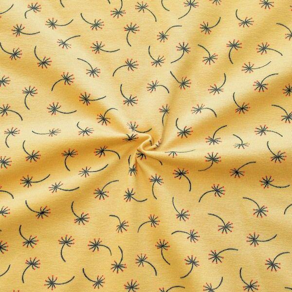 """Baumwoll Stretch Jersey """"Kleine Pusteblumen"""" Farbe Gelb"""