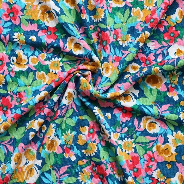 Viskose Stretch Jersey Blüten Mix Petrol