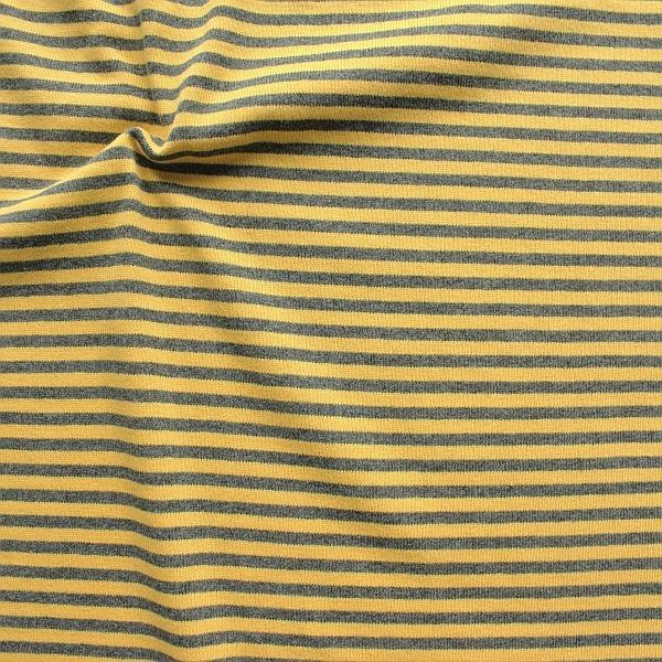 Feinstrick Jersey Two Tone Ringel Gelb-Grau