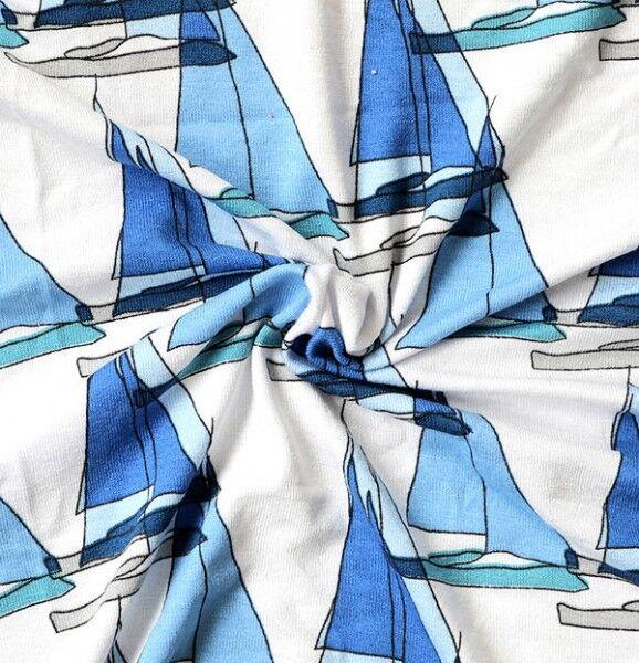 Viskose Stretch Jersey Segelboote Weiss-Blau