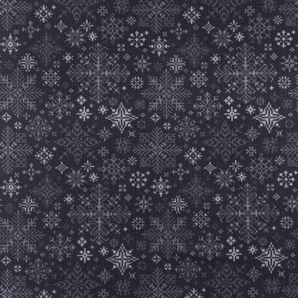 Baumwoll Stretch Jersey Schneeflocken Strickoptik Dunkel-Grau