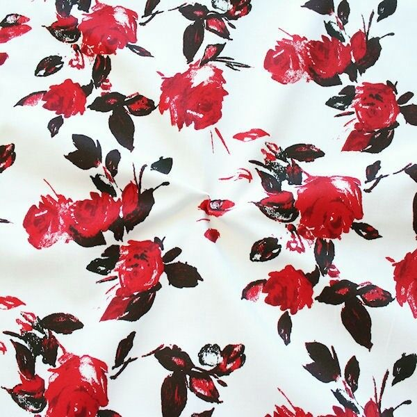 "100% Baumwollstoff ""Red Roses"" Farbe Ecru"