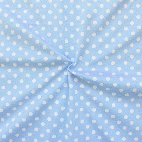 "Baumwoll Stretch Jersey ""Classic Dots"" Farbe Hell-Blau"