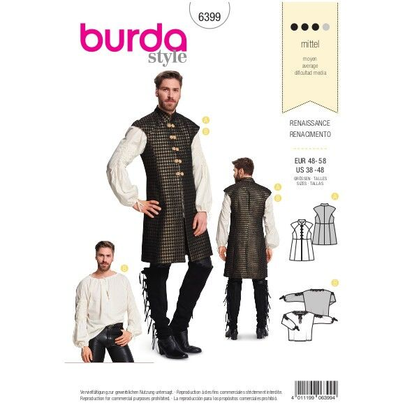 Renaissance-Outfit,  Gr. 48 - 58, Schnittmuster Burda 6399