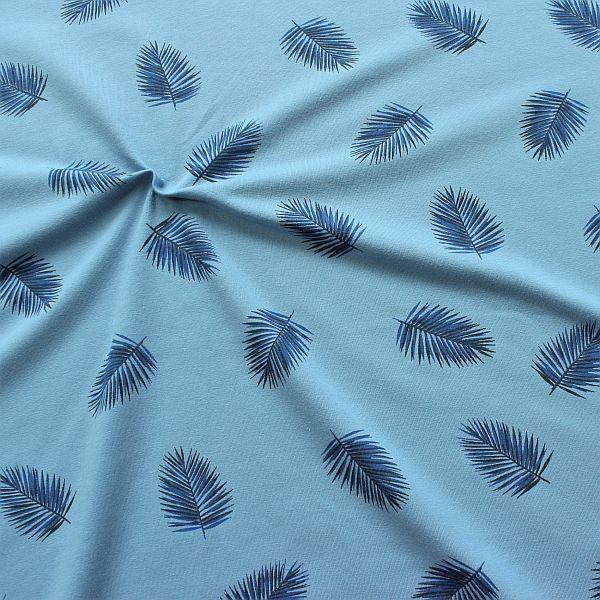 Baumwoll Stretch Jersey Palmblätter Tauben-Blau