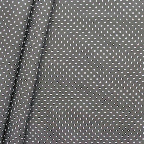 Baumwollstoff beschichtet Punkte klein Dunkel-Grau