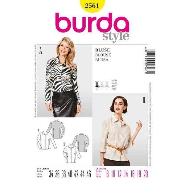Bluse - Kragen, Gr. 34 - 46, Schnittmuster Burda 2561