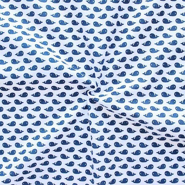 """100% Baumwolle Popeline """"Wale klein"""" Farbe Weiss-Blau"""