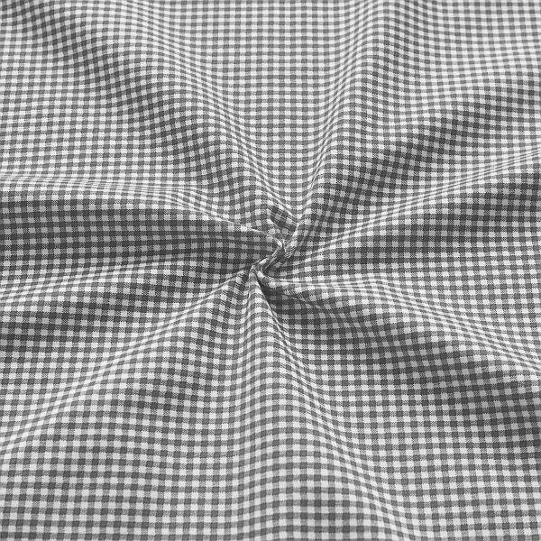 Baumwoll Stretch Jersey Vichy Karo klein Grau-Weiss