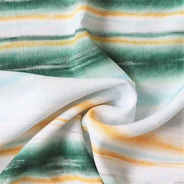 Viskose Javanaise Batik Streifen Grün-Gelb