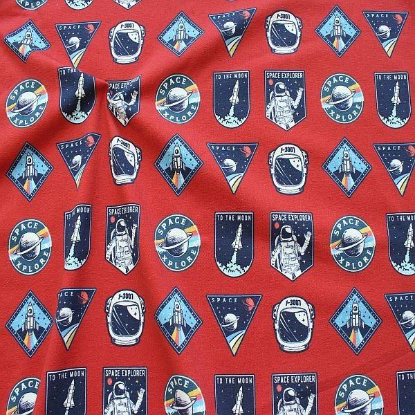Sweatshirt Baumwollstoff French Terry Space Explorer Rost-Braun