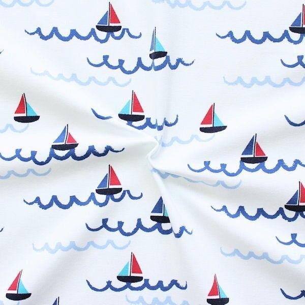 "Baumwoll Stretch Jersey ""Segelboote 3"" Farbe Weiss"