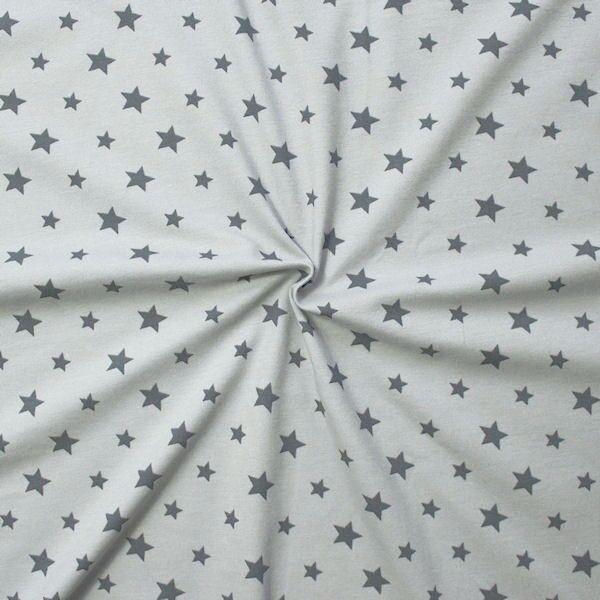 Baumwoll Stretch Jersey Sterne Mix Hell-Grau