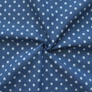 Jeansblauer Stretch-Denim mit kleinen weißen Punkten