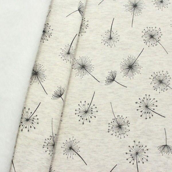 Alpenfleece Sweatshirt Pusteblumen Creme-Weiss meliert